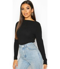 ribbed crew neck long sleeve top, black