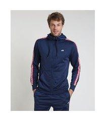 jaqueta masculina esportiva ace com capuz e faixa lateral azul marinho