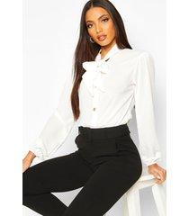 blouse met knopen, volle mouwen en strik, white