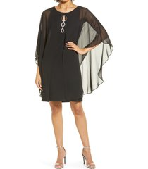 women's connected apparel chiffon overlay cape dress, size 4 - black