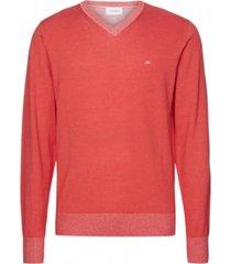 sweater cotton silk v-neck rojo calvin klein