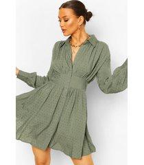 dobby blouse jurk met geplooide shoulder, blauwgroen