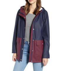 women's levi's colorblock rubberized coat, size large - blue