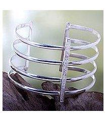 silver plated cuff bracelet, 'tribal urban' (indonesia)