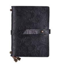 couro gravado vintage pattern travel journal notebook forrado papel em branco grelha diário recarregáveis notepad presente para homens e mulheres desenhando escrita preta