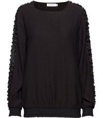blouse w. fringe lace detail blouse lange mouwen zwart coster copenhagen