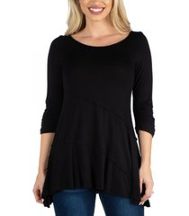 24seven comfort apparel three quarter sleeve flared tunic top