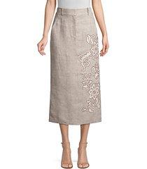 milani floral-detailed linen skirt