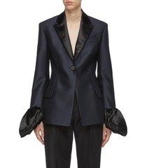 contrast puffed cuff tailored blazer