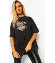 acid wash official cherub print t-shirt, black