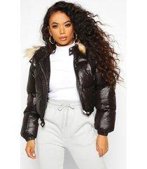 petite korte gewatteerde jas, zwart