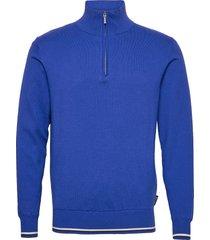 mens dubson windstop pullover knitwear half zip jumpers blauw abacus