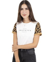 camiseta cruda estampada con mangas de leopardo flashy