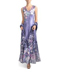 women's komarov lace-up back maxi dress with wrap, size small - blue
