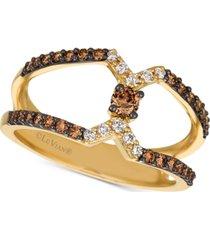 le vian chocolatier open-band chocolate diamonds & vanilla diamonds statement ring (1/2 ct. t.w.) in 14k gold