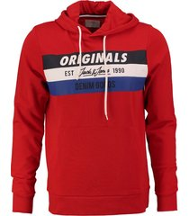 jack & jones fiery red slim fit sweater hoodie valt kleiner