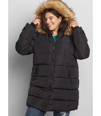 lane bryant women's faux-fur trim hooded puffer coat 18/20 black
