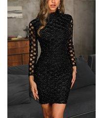 negro hueco diseño mangas largas brillantes vestido