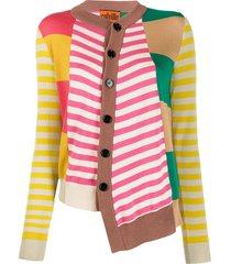 colville asymmetric patchwork knit cardigan - pink