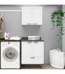 conjunto lavanderia multiuso armã¡rio com balcã£o 100% mdf suspenso multimã³veis branco - branco/incolor - dafiti