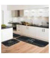 kit tapete de cozinha i love cooking único 40x120