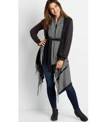 maurices womens black stripe tie waist ruana vest