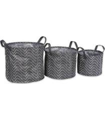 design imports polyethylene coated woven paper laundry bin tribal chevron round set of 3