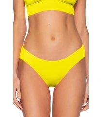 women's becca shirred hipster bikini bottoms, size large - yellow