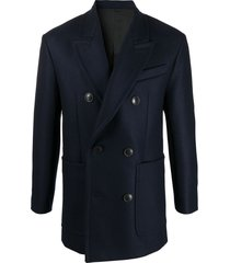 ami paris double breasted short coat - blue