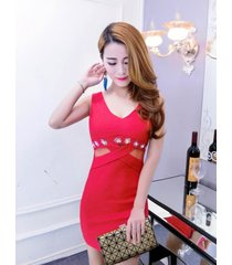 pf092 sweet u neck slimming dress, stretchable cotton, free size, red