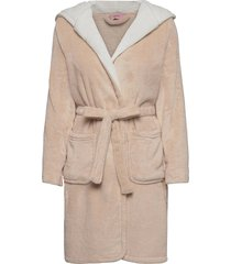 robe short fleece hood morgonrock creme hunkemöller