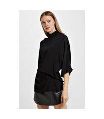 blusa de crepe basque decote v preto - 40