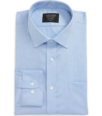 men's big & tall nordstrom trim fit non-iron dress shirt, size 18.5 - 36/37 - blue
