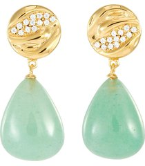 payo' cubic zirconia green stone gold plate drop earrings