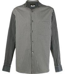 comme des garçons homme plus striped print hooded shirt - black