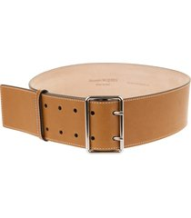 alexander mcqueen woman brown and silver military belt