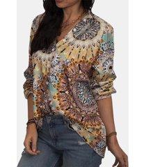 camicetta in chiffon vintage a maniche lunghe con scollo a v con stampa floreale per donna