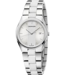 calvin klein women's contrast stainless steel and white silicone bracelet watch 34mm