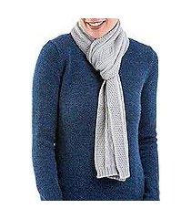 100% alpaca scarf, 'dove grey braid' (peru)