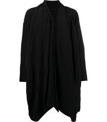 julius v-neck crinkle coat - black