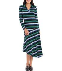 women's maggy london multi stripe long sleeve dress, size 14 - black