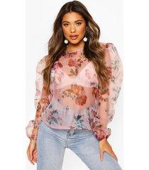 blurred floral organza mesh puff sleeve top, pink