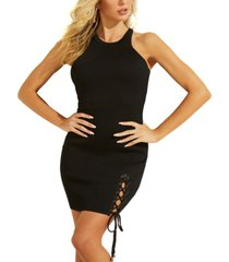 guess alexa lace-up bodycon dress