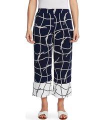 women's chaus colorblock nautical ropes crop wide leg trousers, size x-large - blue