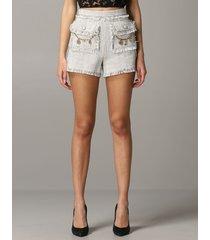 elisabetta franchi pants elisabetta franchi shorts in lurex tweed with applications