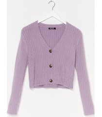 womens button-down for whatever fluffy knit cardigan - lilac