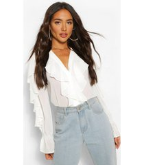 chiffon ruffle v neck blouse, white