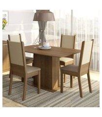 conjunto sala de jantar rita madesa mesa tampo de madeira com 4 cadeiras rustic/crema/pérola