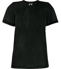 junya watanabe short sleeve sheer panel t-shirt - black