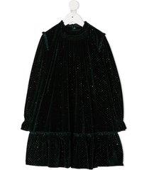 abel & lula velvet party dress with metallic sparkle - green